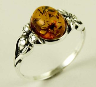 Silver Ring Amber Stone