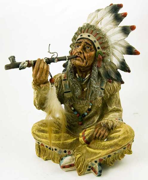 Indian Sitting With Peace Pipe