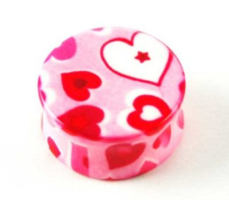 XX-Body Piercing Plug Pink Hearts 20mm