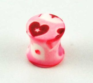XX-Body Piercing Plug Pink Hearts 8mm