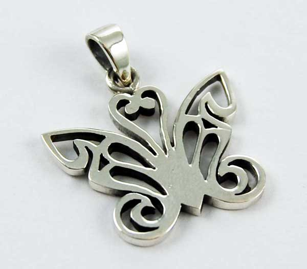 XX-Pendant Silver Butterfly Thick Cut Design