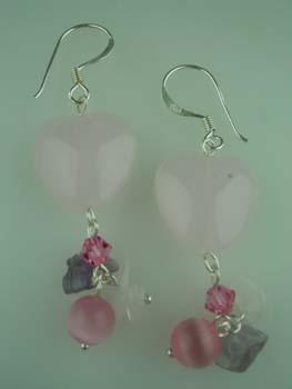 XX-Silver Earring Heart Stones 925 Sterling Silver