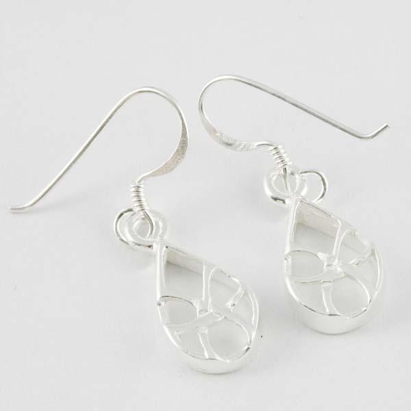 XX-Silver Earring Tear Drop Cut