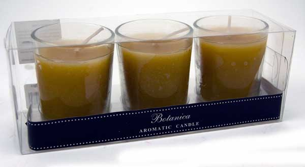 Candle in Glass Vanilla 3pcs