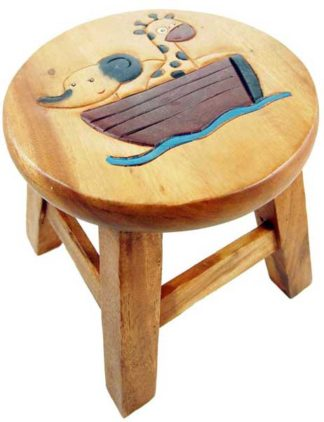 Stool Wooden Elephant And Giraffe
