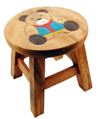 Stool Wooden With Bear