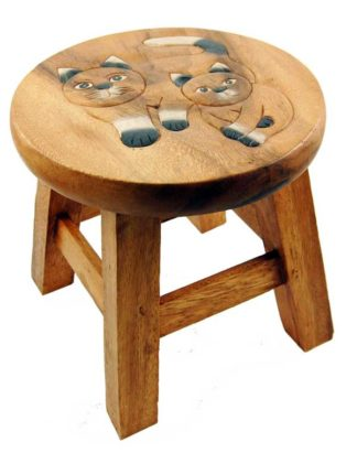 Stool Wooden With Cats