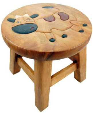 Stool Wooden With Cow