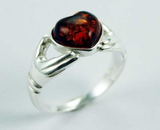Ring Amber Heart Cognac Colour