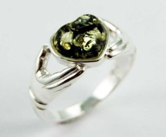 Ring Amber Heart Green Colour