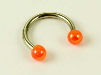 Body Piercing Eyebrow Ring With Orange Ball Ends 1.2X8X3cm