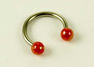 Body Piercing Eyebrow Ring With Red Ball Ends 1.2X8X3cm