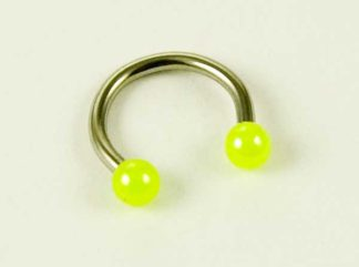 Body Piercing Eyebrow Ring With Yellow Ball Ends 1.2X8X3cm