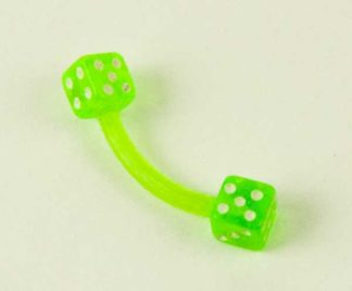 Body Piercing Eyebrow Bar With Green Dices 1.2X8X3cm