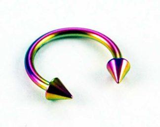 Body Piercing Eye Brow Ring Rainbow 1.2x10mm 2pcs