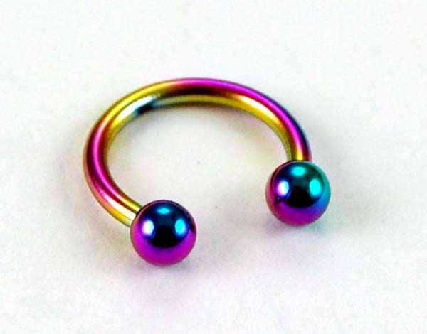 Body Piercing Eye Brow Ring With Ball 8mm Rainbow 2 Pcs