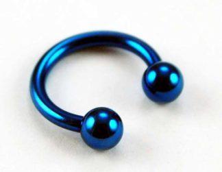 Body Piercing Eye Brow Rings With Ball Blue 2 Pcs 4x10x1.6