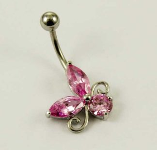 Body Piercing Banana Bar Steel Floral With Pink Stones 1.6X10mm