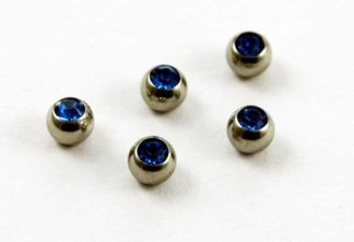 Body Piercing Jewelled Balls 1.6x4mm Sapphire Stones 5pcs
