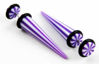 Body Piercing Expander Fake Stripy Purple And White 8mm 2pcs