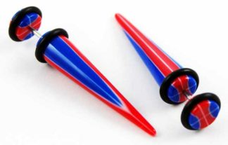 Body Piercing Expander Fake Stripy Red And Blue 8mm 2pcs