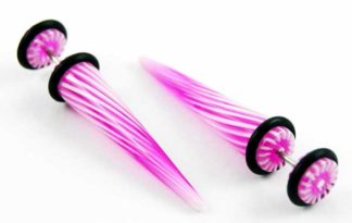 Body Piercing Expander Fake Stripy 2 Tone Pink And White 8mm 2pc