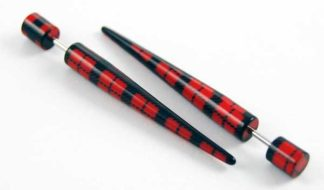 Body Piercing Expander UV Black And Red Check 5mm 2pcs
