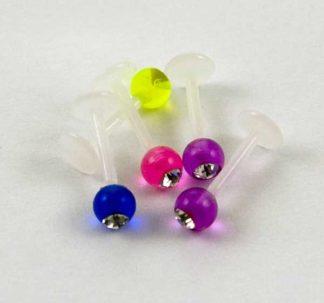 Body Piercing Labret Clear Stone 5PCS UV Mixed Ball 8X1.2X5mm