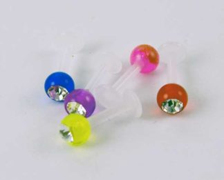 Body Piercing Labret Clear Stone UV Mixed 5pcs