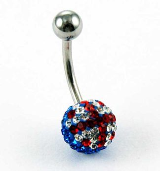 Body Piercing Banana Bar Blue With Red Cross And Stones