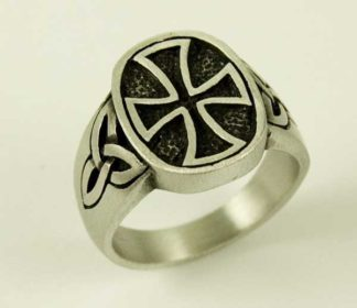 Ring Pewter Cross In Centre