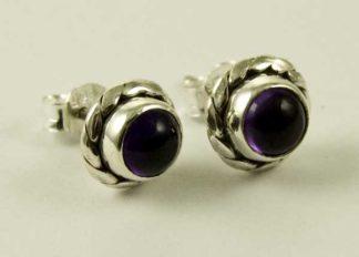 Silver Earring Stud Oval Stone