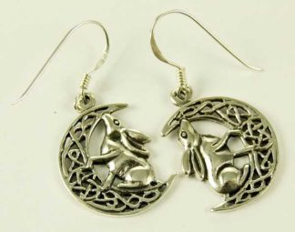 Silver Earring Hare On Moon