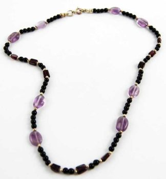 Necklace Silver Amethyst Beads