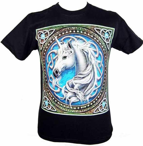 T-Shirt Medium Celtic Unicorn Blue
