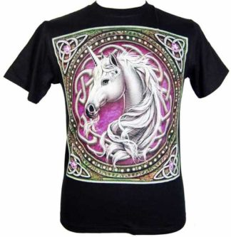 T-Shirt Medium Celtic Unicorn Purple