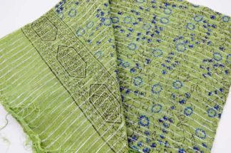 Scarf Lurex Floral Print Light Green 2pcs