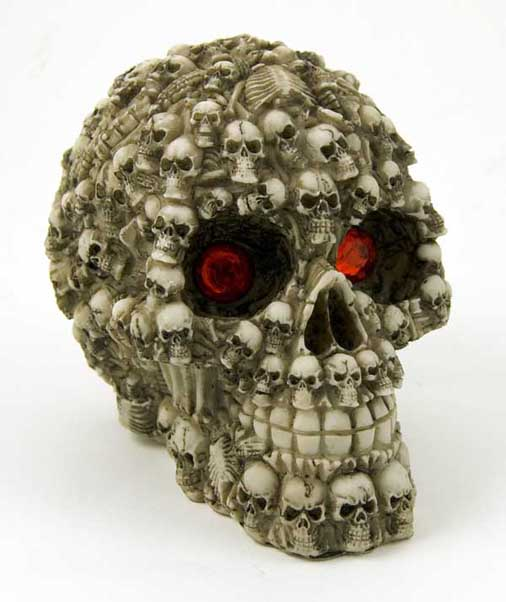 Skull Head With Red Eyes Ivory