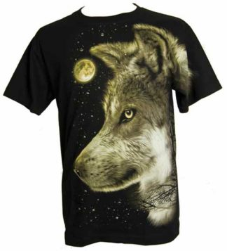 T-Shirt Large Wolf With Moon