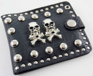 Wallet Black With Skulls Leather