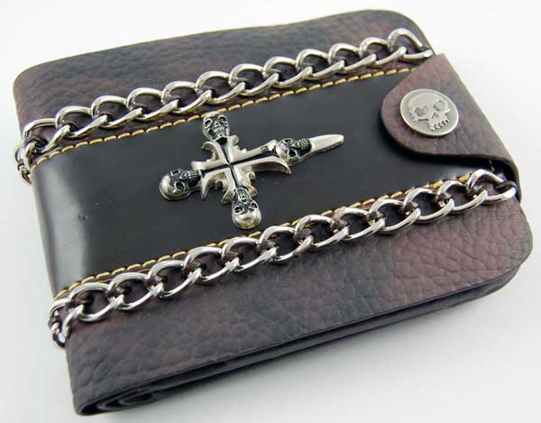 Wallet Brown With Skull Sword Leather