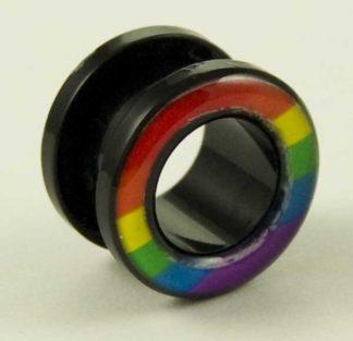 Body Piercing Tunnel Flesh Acrylic Rainbow 8mm