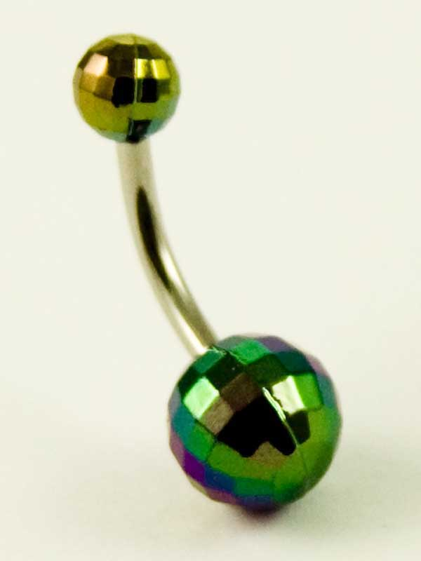 Body Piercing Banana Bar Acrylic Disco Ball AB White 1.6x10x8x5mm