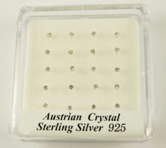 Nose Studs Silver Clear Stones 20pcs