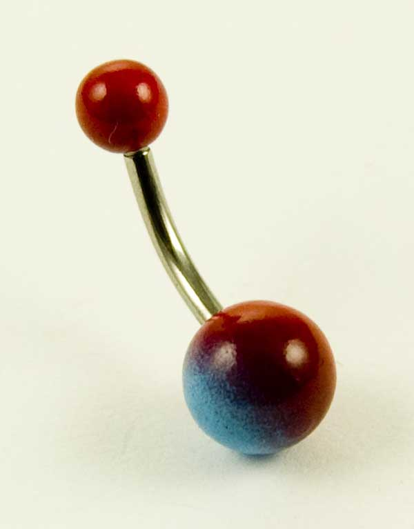 Body Piercing Banana Bar Red And Blue