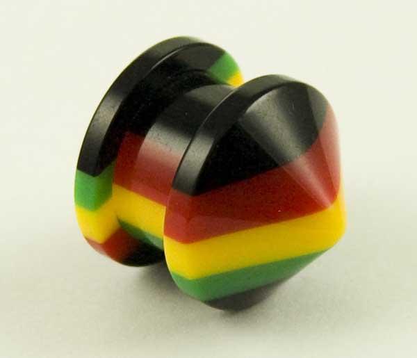 Body Piercing Plug Acrylic Rasta 8mm