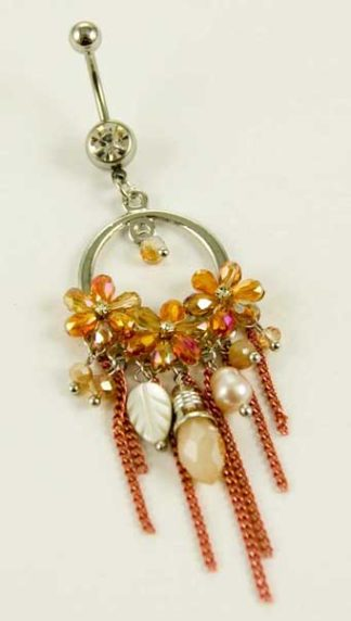 Body Piercing Belly Bar Ring Orange Flowers