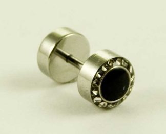 Body Piercing Plug Fake Black CZ