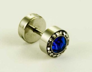 Body Piercing Plug Fake Blue CZ