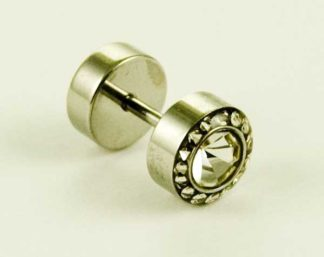 Body Piercing Plug Fake Clear CZ
